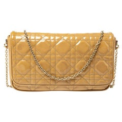 Dior Beige Patent Leather Flap Chain Clutch