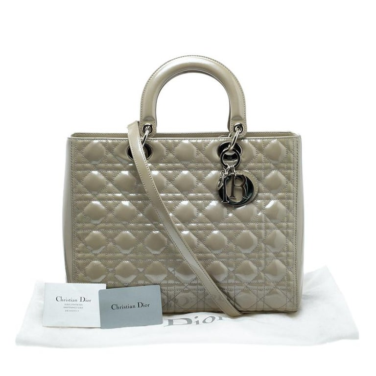 Dior Beige Patent Leather Large Lady Dior Tote For Sale at 1stdibs b191cd527b38a