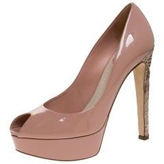 Dior Beige Patent Leather Metal Cannage Heel Peep Toe Platform Pumps Size 38
