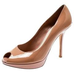 Dior Beige Patent Leather Miss Dior Peep Toe Platform Pumps Size 38.5
