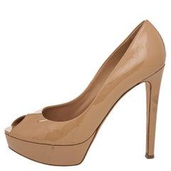 Dior Beige Patent Leather Miss Dior Peep Toe Platform Pumps Size 40