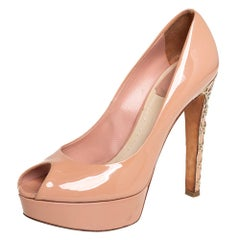 Dior Beige Patent Leather Platform Peep Toe Pumps Size 37