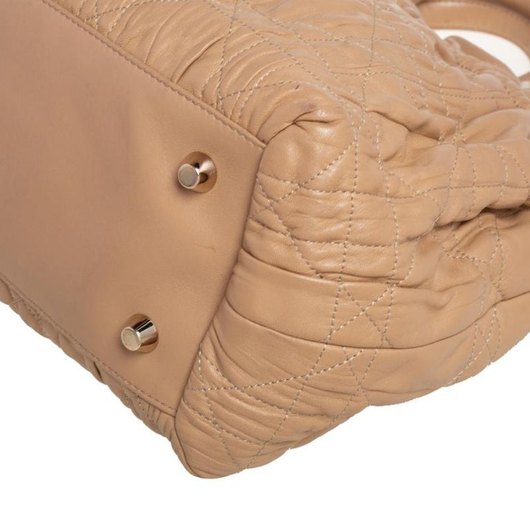 Dior Beige Quilted Cannage Leather Delices Gaufre Tote For Sale 7