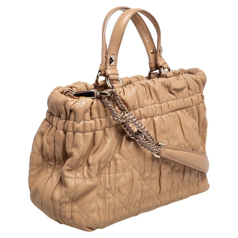 Women's Dior Beige Quilted Cannage Leather Delices Gaufre Tote For Sale