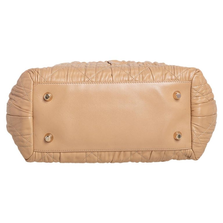 Dior Beige Quilted Cannage Leather Delices Gaufre Tote For Sale 1