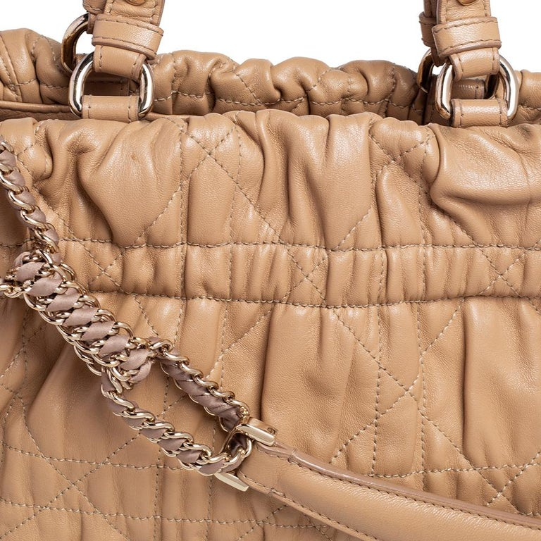 Dior Beige Quilted Cannage Leather Delices Gaufre Tote For Sale 5