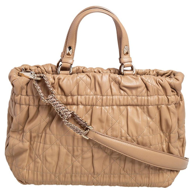 Dior Beige Quilted Cannage Leather Delices Gaufre Tote For Sale