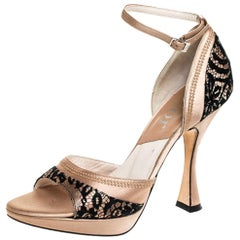 Dior Beige Satin And Black Lace Ankle Strap Open Toe Sandals Size 37.5