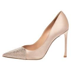Dior Beige Satin Dew Crystal Embellished Pointed Toe Pumps Size 38
