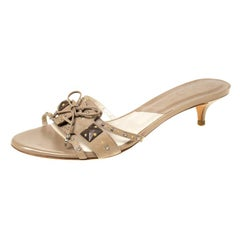 Dior Beige Studded Suede Bow Detail Open Toe Slides Size 40