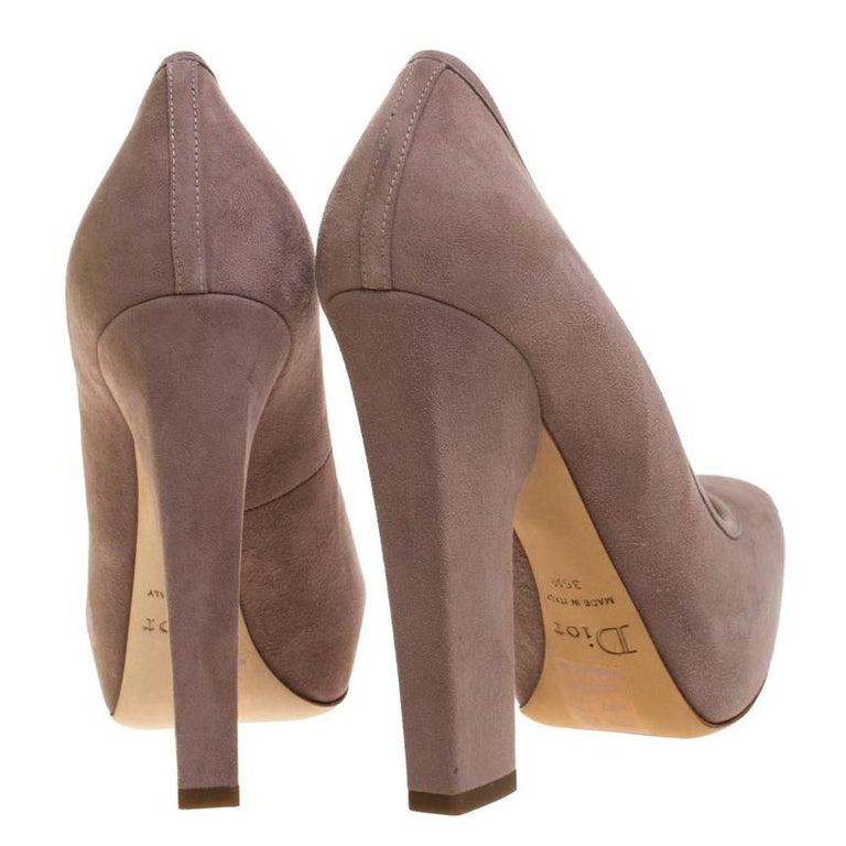Women's Dior Beige Suede Bow Detail Block Heel Platform Pumps Size 38.5 For Sale