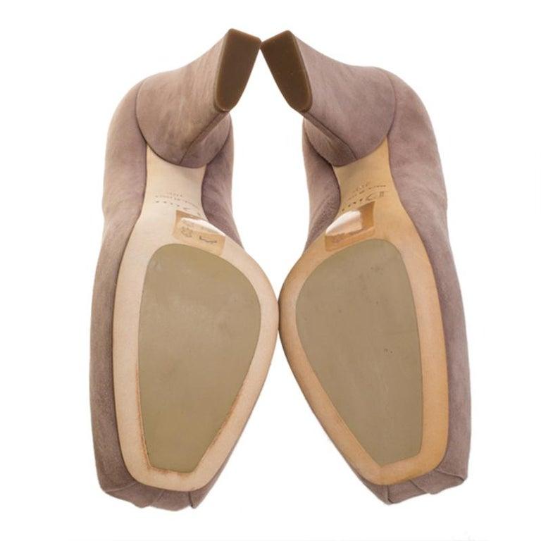 Dior Beige Suede Bow Detail Block Heel Platform Pumps Size 38.5 For Sale 2