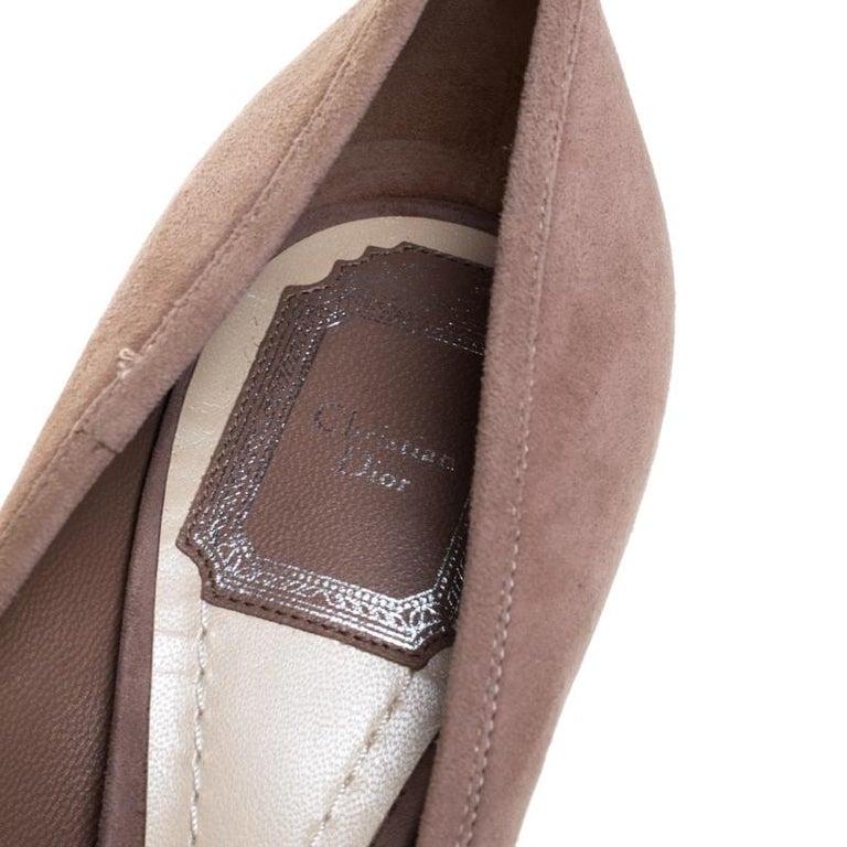 Dior Beige Suede Bow Detail Block Heel Platform Pumps Size 38.5 For Sale 3