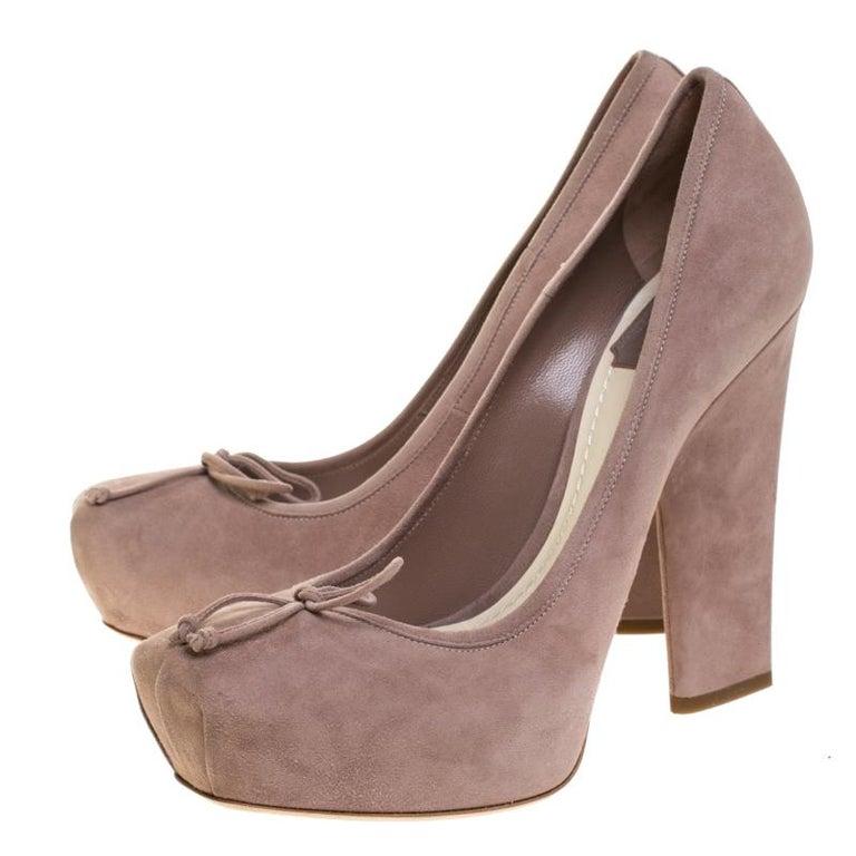 Dior Beige Suede Bow Detail Block Heel Platform Pumps Size 38.5 For Sale 4
