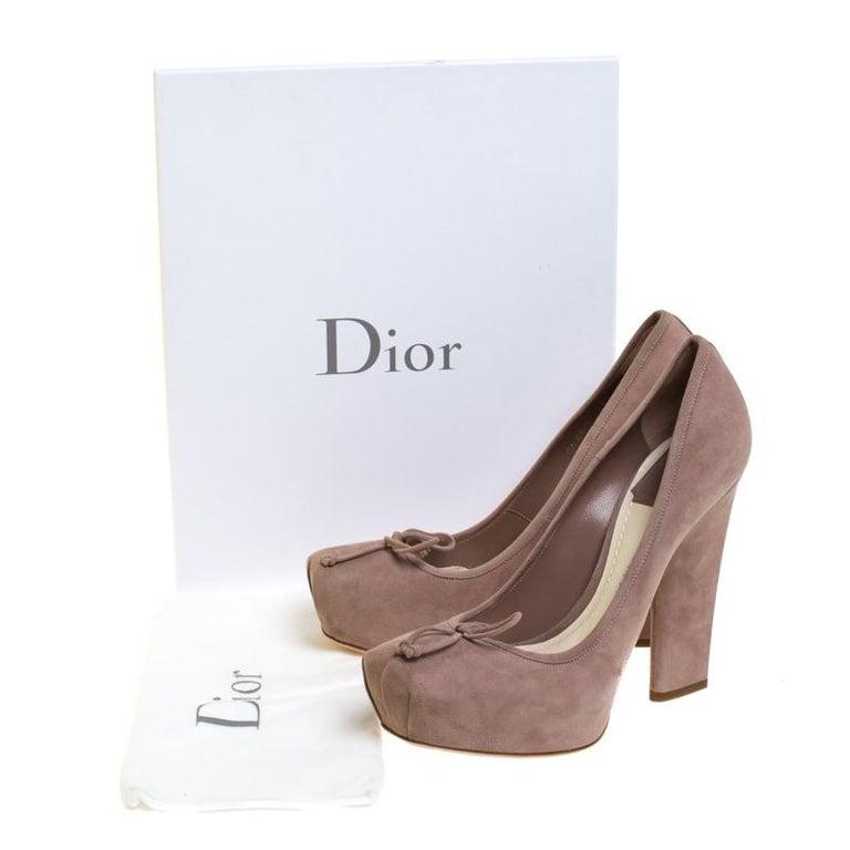 Dior Beige Suede Bow Detail Block Heel Platform Pumps Size 38.5 For Sale 5