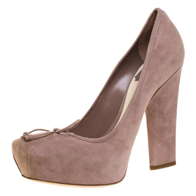 Dior Beige Suede Bow Detail Block Heel Platform Pumps Size 38.5 For Sale