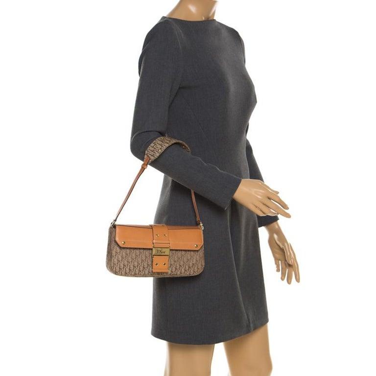 Brown Dior Beige/Tan Oblique Canvas and Leather Street Chic Shoulder Bag