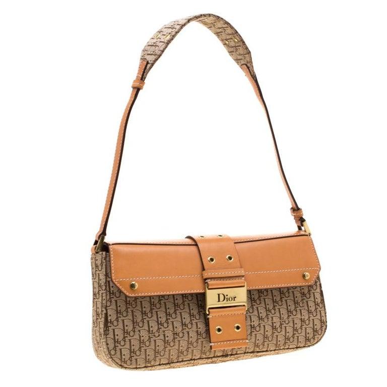 Dior Beige/Tan Oblique Canvas and Leather Street Chic Shoulder Bag In Good Condition In Dubai, Al Qouz 2