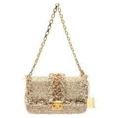 Dior Beige Tweed Medium Miss Dior Flap Bag