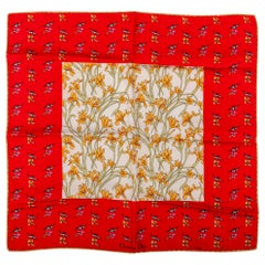 Dior Birds & Flowers Red Small Scarf