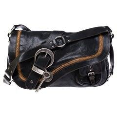 Dior Black/Brown Leather Large Gaucho Double Saddle Shoulder Bag