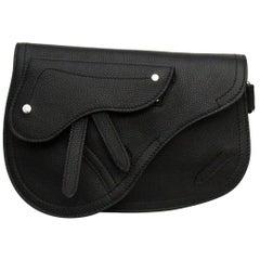 Dior Black Calf Leather Saddle Bag