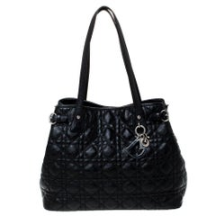Dior Black Cannage Coated Canvas and Leather Small Panarea Tote