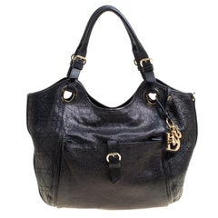 Dior Black Cannage Leather Bee Tote