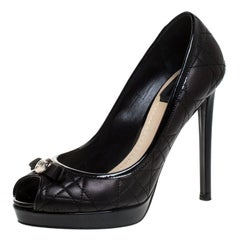 Dior Black Cannage Leather Bow Peep Toe Platform Pumps Size 36