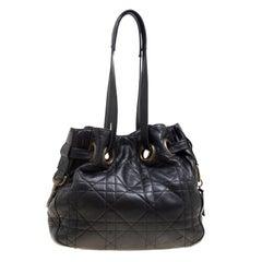 Dior Black Cannage Leather Bucket Shoulder Bag