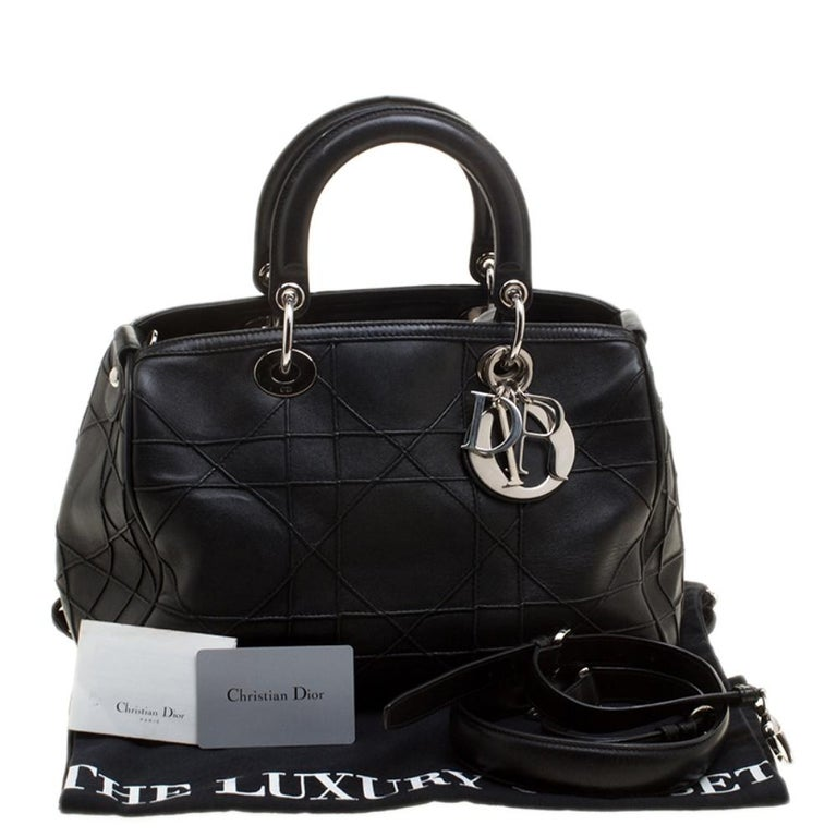 Dior Black Cannage Leather Granville Polochon Satchel For Sale 8