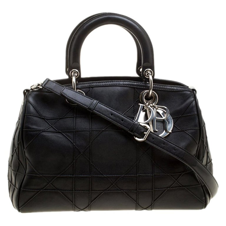 Dior Black Cannage Leather Granville Polochon Satchel For Sale