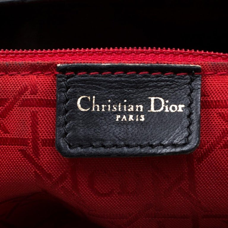 Dior Black Cannage Leather Large Lady Dior Tote For Sale 7