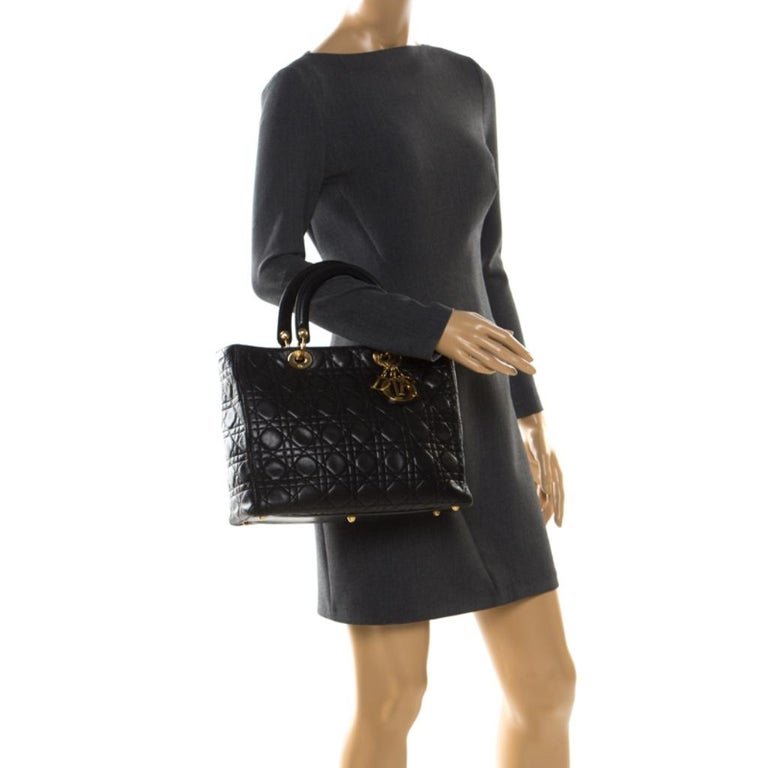Dior Black Cannage Leather Large Lady Dior Tote In Good Condition For Sale In Dubai, Al Qouz 2