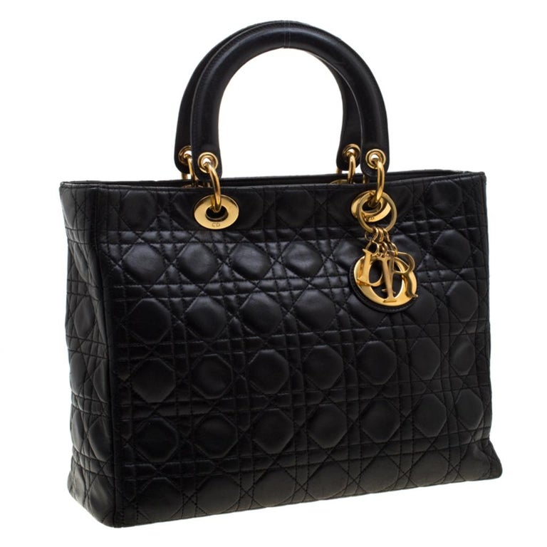 Women's Dior Black Cannage Leather Large Lady Dior Tote For Sale