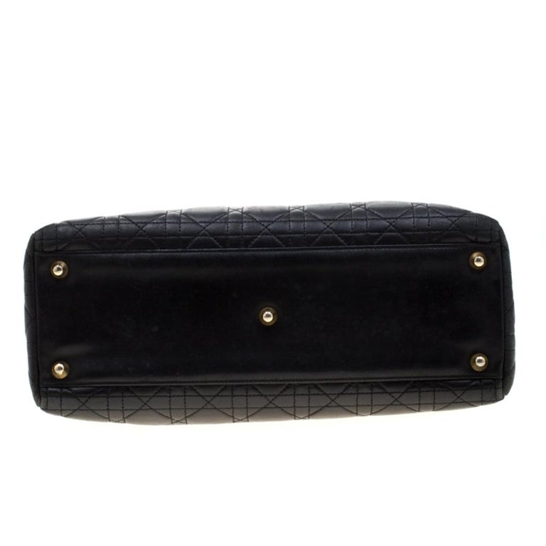 Dior Black Cannage Leather Large Lady Dior Tote For Sale 1