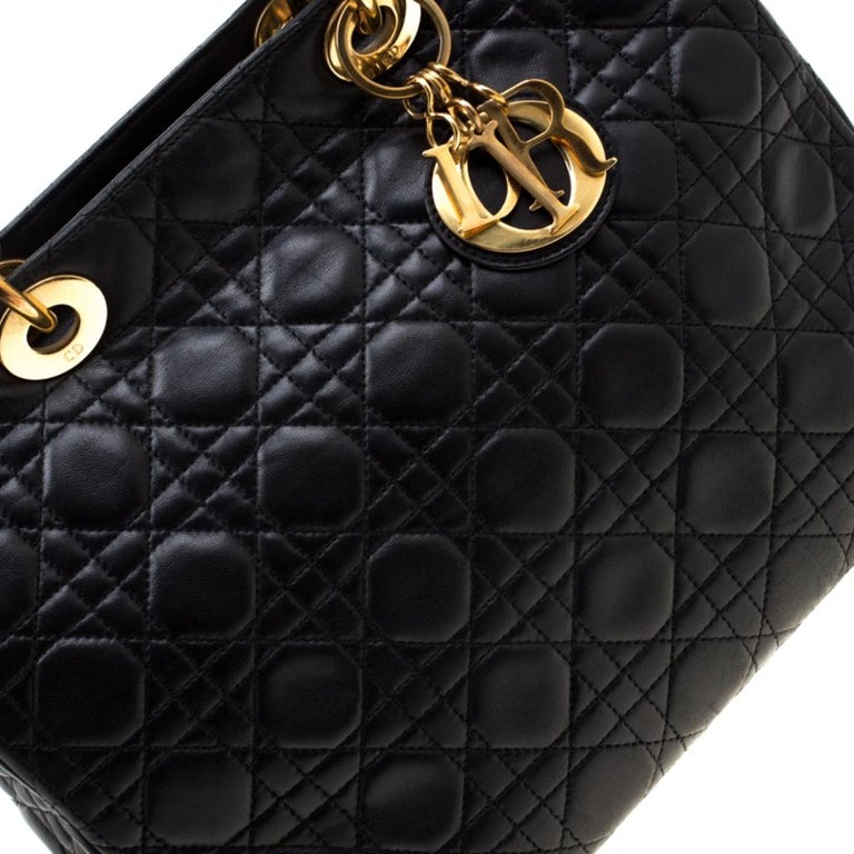 Dior Black Cannage Leather Large Lady Dior Tote For Sale 2