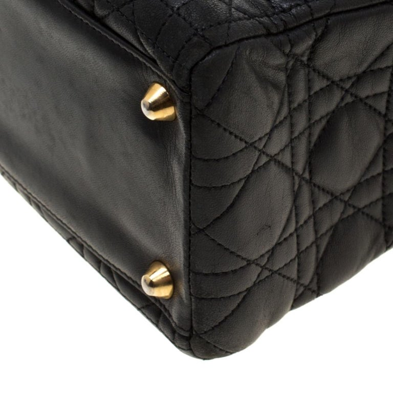 Dior Black Cannage Leather Large Lady Dior Tote For Sale 4