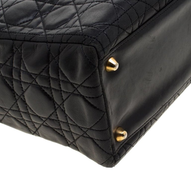 Dior Black Cannage Leather Large Lady Dior Tote For Sale 5