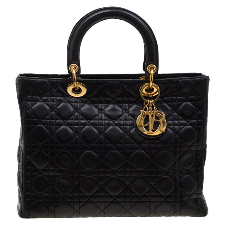 Dior Black Cannage Leather Large Lady Dior Tote For Sale