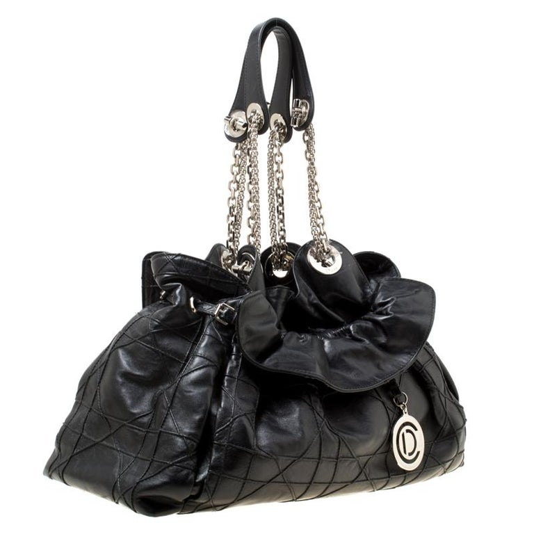 Dior Black Cannage Leather Le Trente Hobo For Sale 6