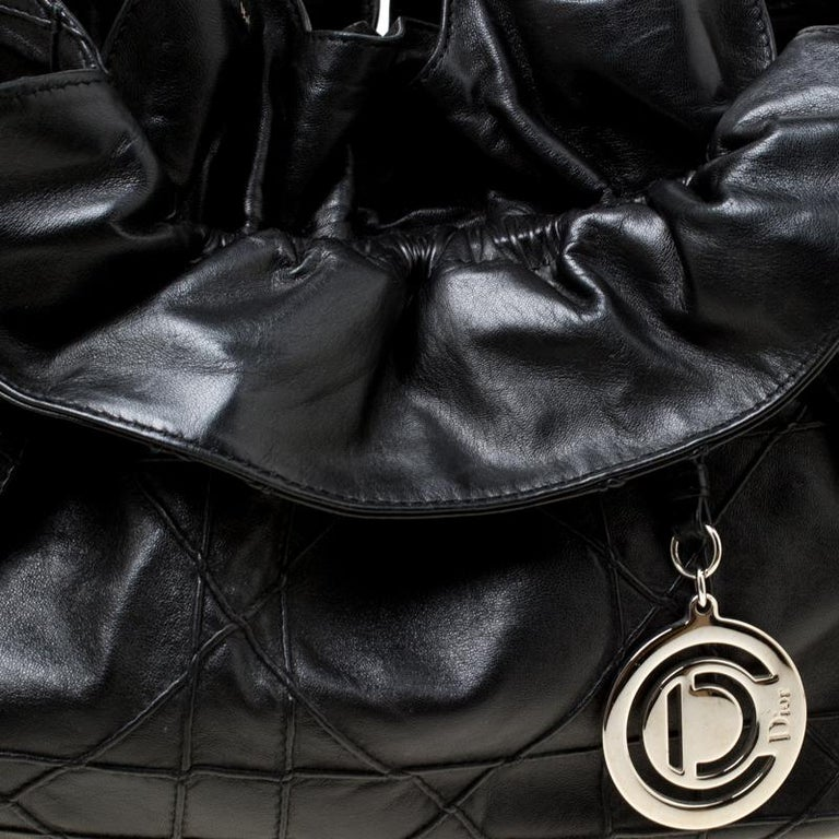 Dior Black Cannage Leather Le Trente Hobo For Sale 7