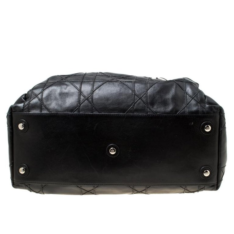 Dior Black Cannage Leather Le Trente Hobo For Sale 5
