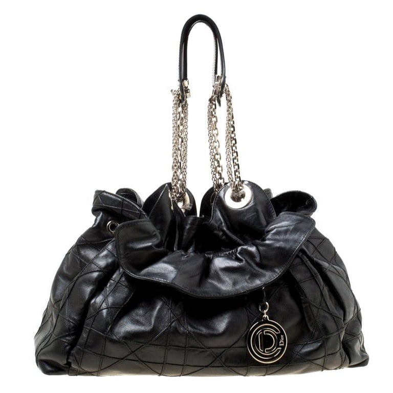 Dior Black Cannage Leather Le Trente Hobo For Sale