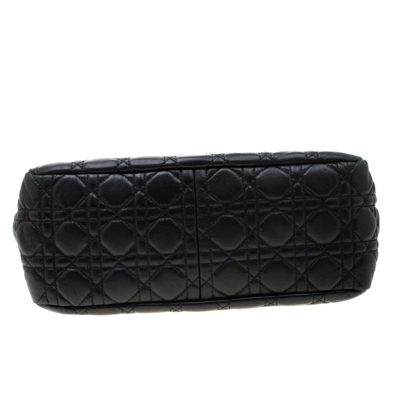 Dior Black Cannage Leather New Lock Flap Bag For Sale 7