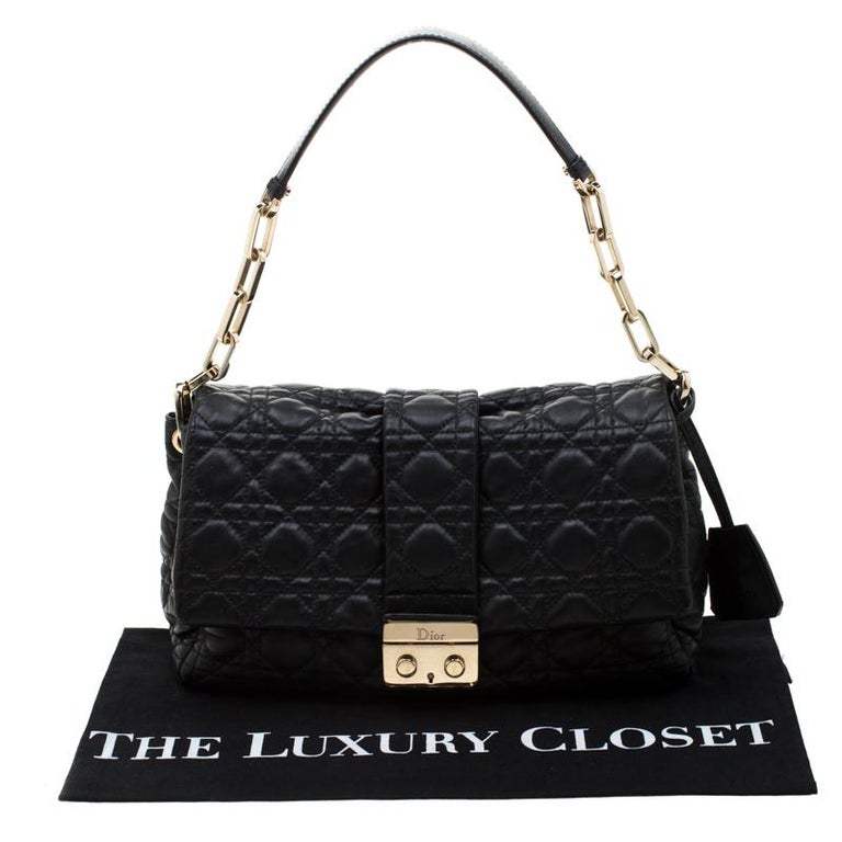 Dior Black Cannage Leather New Lock Flap Bag For Sale 8