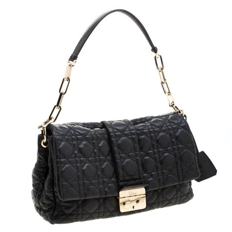 Dior Black Cannage Leather New Lock Flap Bag In Good Condition For Sale In Dubai, Al Qouz 2
