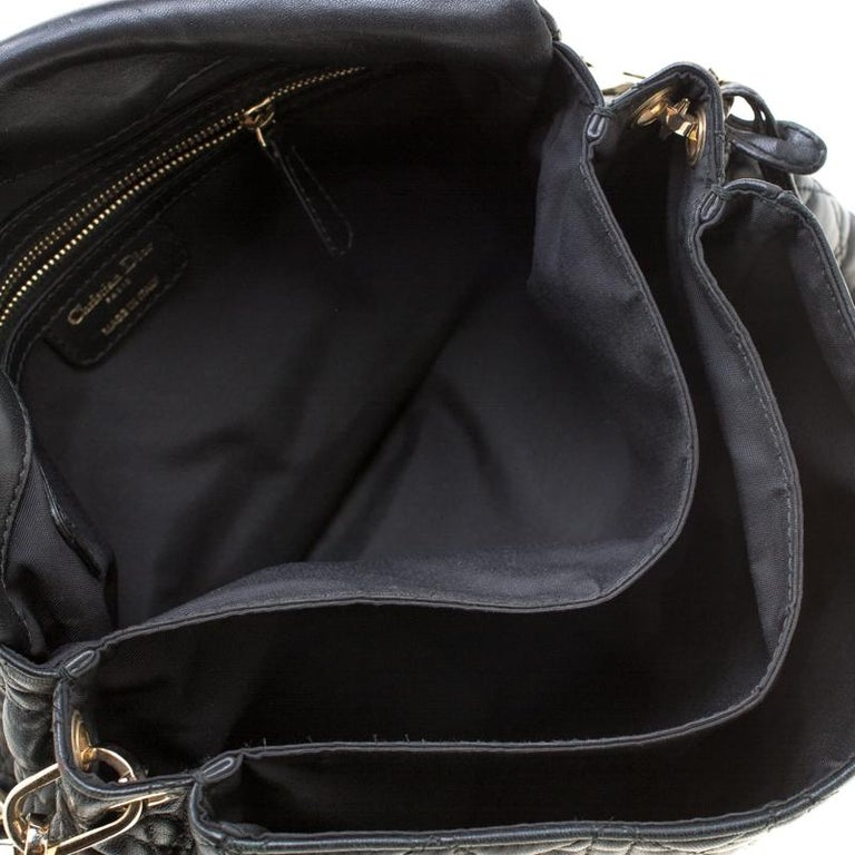 Dior Black Cannage Leather New Lock Flap Bag For Sale 2