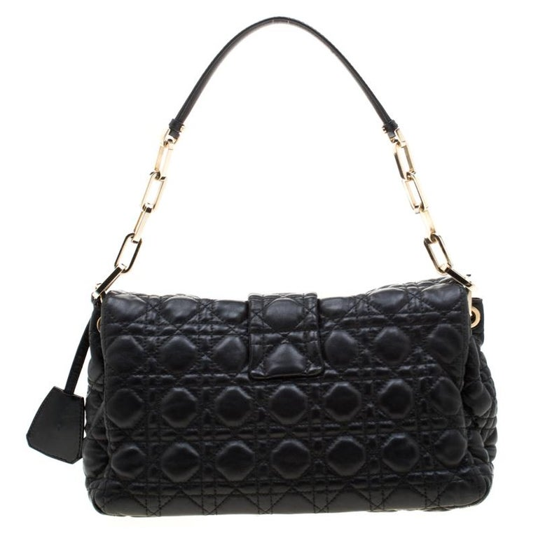 Dior Black Cannage Leather New Lock Flap Bag For Sale 3