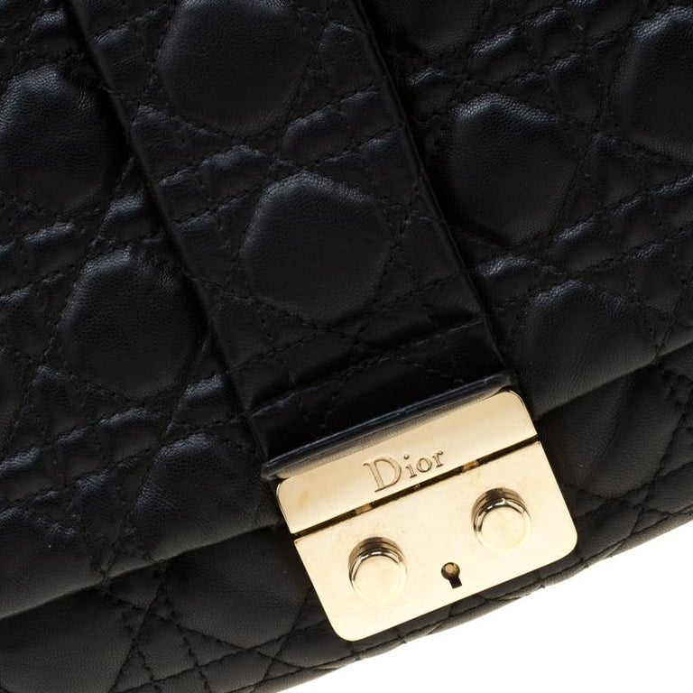 Dior Black Cannage Leather New Lock Flap Bag For Sale 4